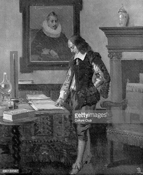 Blaise Pascal French mathemetician and physicist at work in his home on the Rue Beaubourg Paris in 1652 Published in June 1923 Illustration by RenŽ...