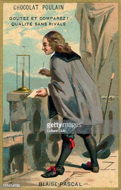 Blaise Pascal portrait of the French mathematician physicist and philosopher 19 June 1623 19 August 1662 Illustration on advertisement card for...