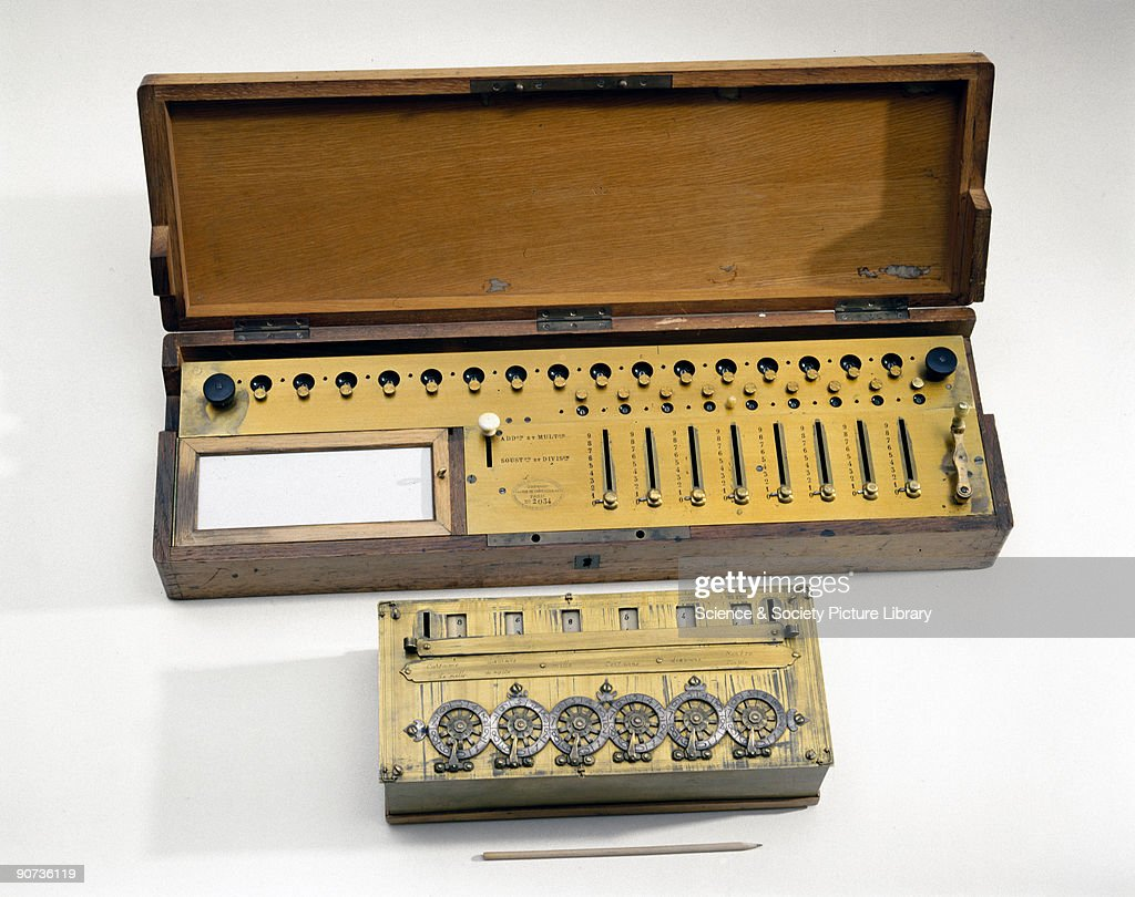 Pascals calculating machine, 1642, and Colmar�s Arithmometer, c 1850. : News Photo