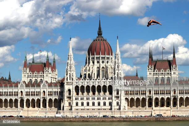 Blake Aldridge of Great Britain competes during the Men's High Dive preliminary round on day fifteen of the Budapest 2017 FINA World Championships on...