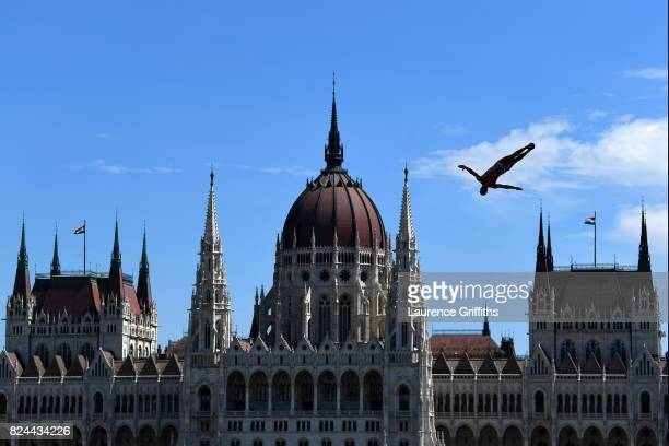 Blake Aldridge of Great Britain competes during the Men's High Diving on day seventeen of the Budapest 2017 FINA World Championships on July 30 2017...
