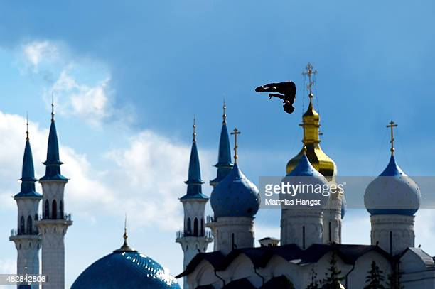 Blake Aldridge of Great Britain competes in the Men's High Diving 27m preliminary round on day ten of the 16th FINA World Championships at the...