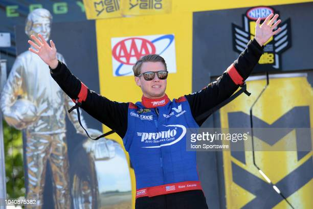 Blake Alexander NHRA Top Fuel Dragster is introduced to the crowd during prerace festivities before the start of the NHRA AAA Midwest Nationals on...