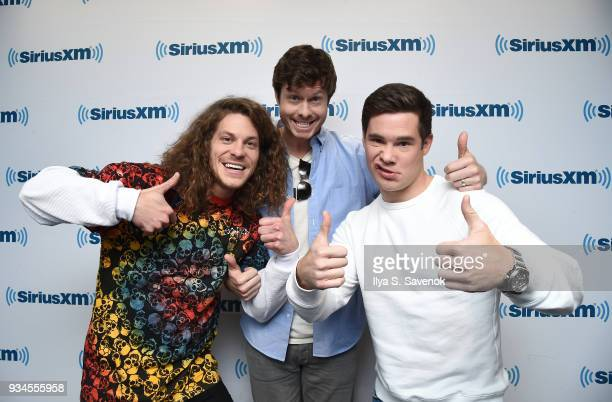 Blake Anderson Anders Holm and Adam Devine visit the SiriusXM Studios on March 19 2018 in New York City