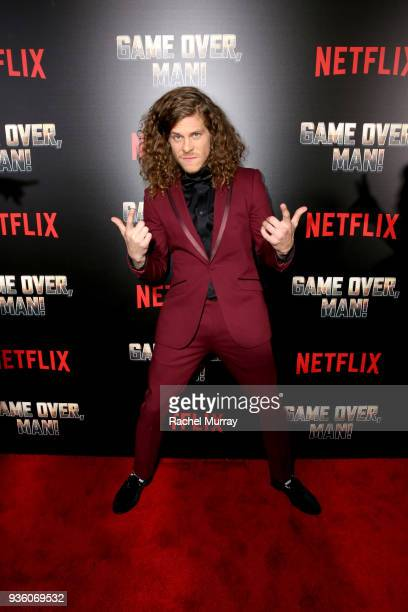 Blake Anderson attends the premiere of the Netflix film Game Over Man at the Regency Village Westwood in Los Angeles at Regency Village Theatre on...