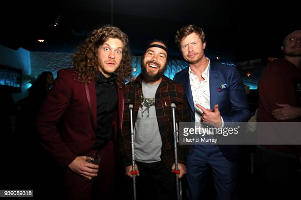 Blake Anderson Chris Pontius and Anders Holm attend the premiere of the Netflix film Game Over Man at the Regency Village Westwood in Los Angeles at...