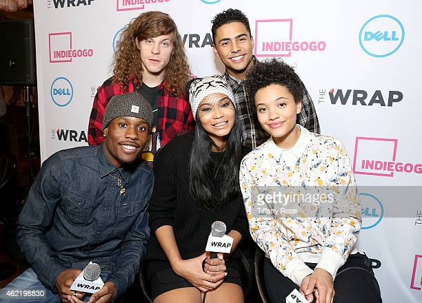 Blake Anderson Quincy Brown Shameik Moore Chanel Iman and Kiersey Clemons attend the TheWrap's Live Interview Lounge at Chefdance on January 25 2015...