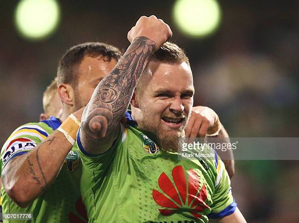 Blake Austin of the Raiders celebrates scoring a try during the second NRL Semi Final match between the Canberra Raiders and the Penrith Panthers at...