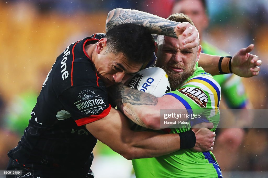 Blake Austin of the Raiders charges forward during the round 23 NRL match between the New Zealand Warriors and the Canberra Raiders at Mt Smart Stadium on August 13, 2017 in Auckland, New Zealand.