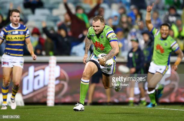Blake Austin of the Raiders heads to the try line to score during the round six NRL match between the Canberra Raiders and the Parramatta Eels at GIO...