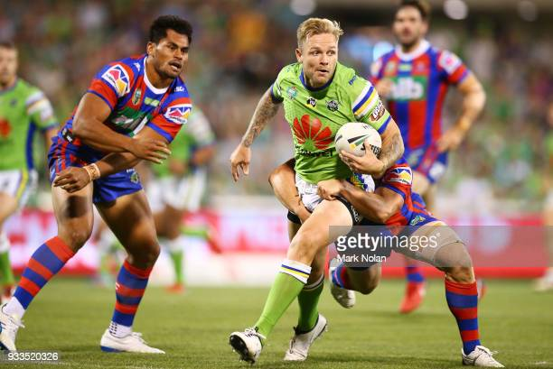 Blake Austin of the Raiders in action during the round two NRL match between the Canberra Raiders and the Newcastle Knights at GIO Stadium on March...