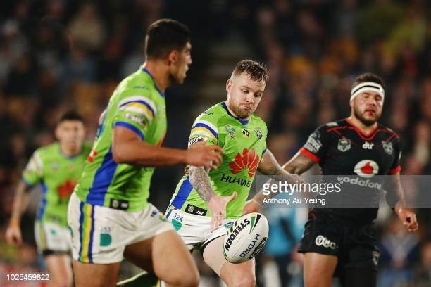 Blake Austin of the Raiders puts in a kick during the round 25 NRL match between the New Zealand Warriors and the Canberra Raiders at Mt Smart...