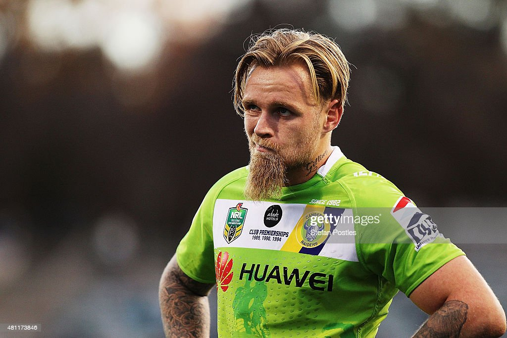 Blake Austin of the Raiders reacts during the round 19 NRL match between the Canberra Raiders and the Cronulla Sharks at GIO Stadium on July 18, 2015 in Canberra, Australia.