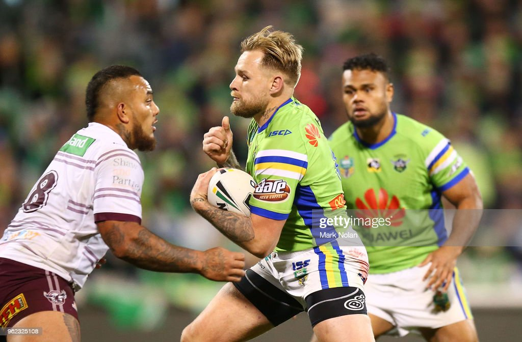 Blake Austin of the Raiders runs the ball during the round 12 NRL match between the Canberra Raiders and the Manly Sea Eagles at GIO Stadium on May 25, 2018 in Canberra, Australia.