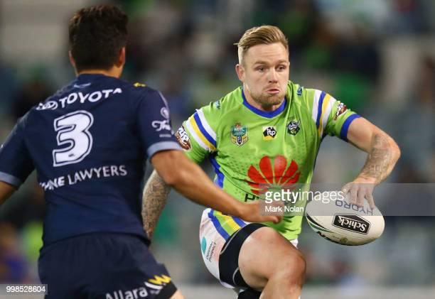 Blake Austin of the Raiders runs the ball during the round 18 NRL match between the Canberra Raiders and the North Queensland Cowboys at GIO Stadium...