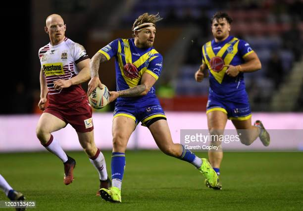 Blake Austin of Warrington during the Super League match between Wigan Warriors and Warrington Wolves at DW Stadium on January 30 2020 in Wigan...