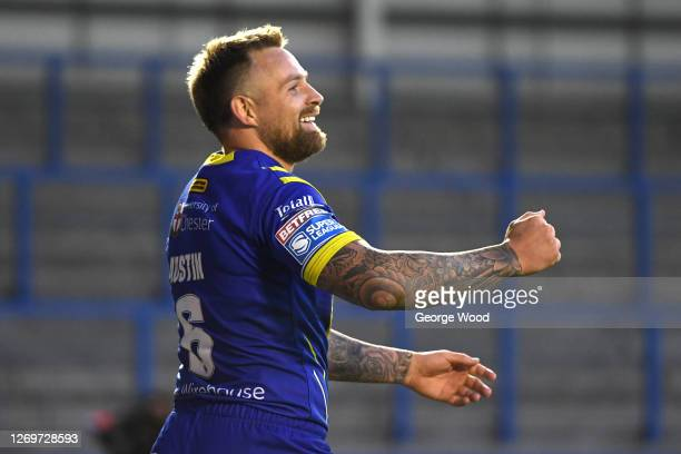 Blake Austin of Warrington Wolves celebrates after scroring a try during the Betfred Super League match between Warrington Wolves and Wakefield...