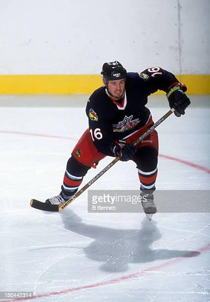 Blake Bellefeuille of the Columbus Blue Jackets skates on the ice during a preseason game in September 2000