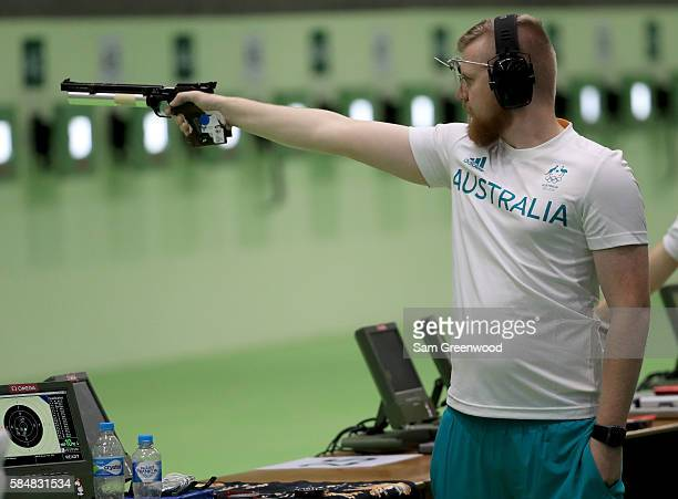 Blake Blackburn of Australia shoots in a 10m Air Pistol practice seesion at the Olympic Shooting Center on July 31 2016 in Rio de Janeiro Brazil