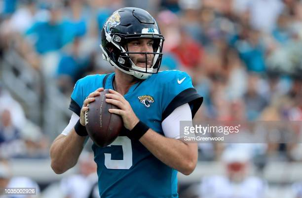 Blake Bortles of the Jacksonville Jaguars attempts a pass during the game against the New England Patriots at TIAA Bank Field on September 16 2018 in...