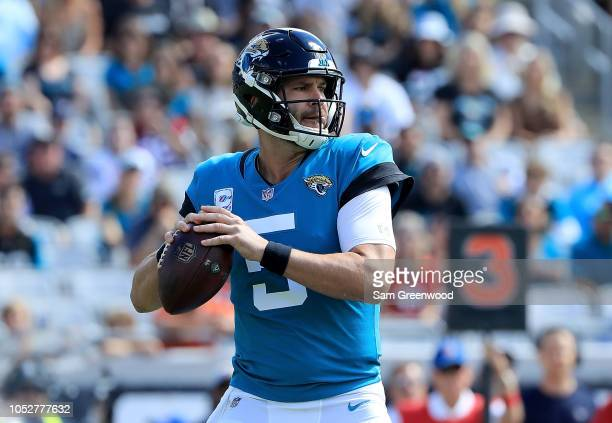 Blake Bortles of the Jacksonville Jaguars attempts a pass during the game against the Houston Texans at TIAA Bank Field on October 21 2018 in...