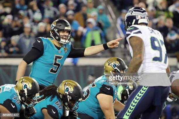 Blake Bortles of the Jacksonville Jaguars calls a play at the line of scrimmage during the second half of their game against the Seattle Seahawks at...