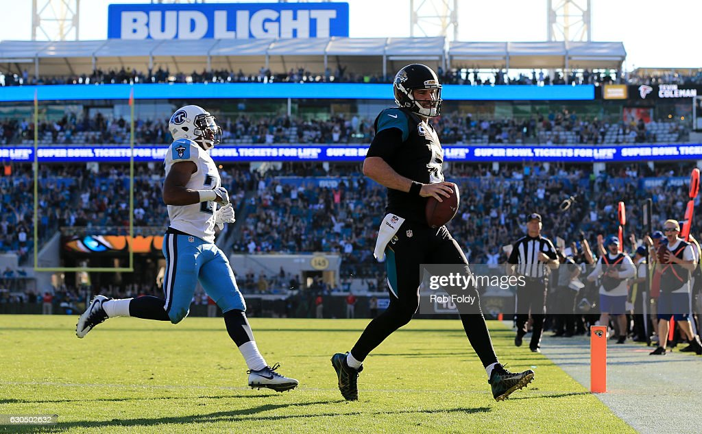 Blake Bortles #5 of the Jacksonville Jaguars carries for a touchdown off a pass from Marquise Lee, not pictured, during the fourth quarter of the game against the Tennessee Titans at EverBank Field on December 24, 2016 in Jacksonville, Florida.
