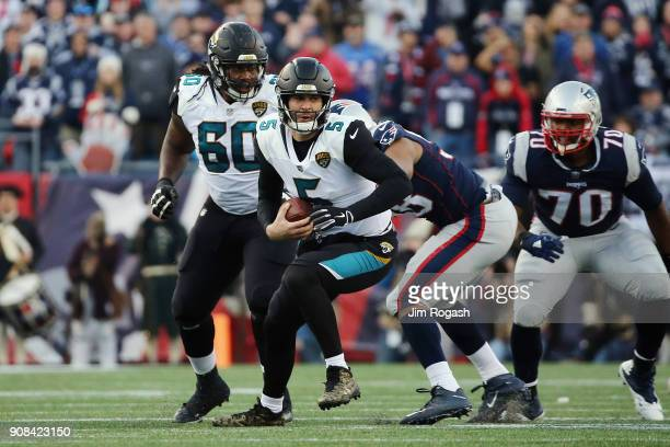 Blake Bortles of the Jacksonville Jaguars carries the ball in the second quarter of the AFC Championship Game against the New England Patriots at...