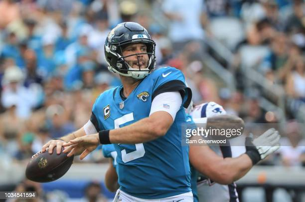 Blake Bortles of the Jacksonville Jaguars drops back to pass during the second half against the New England Patriots at TIAA Bank Field on September...