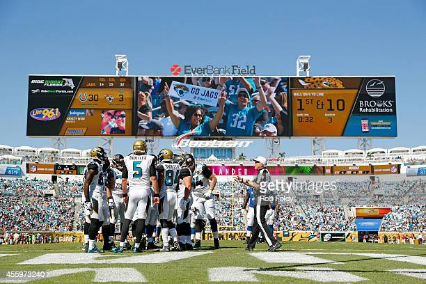 Blake Bortles of the Jacksonville Jaguars huddles during the game against the Indianapolis Colts at EverBank Field on September 21 2014 in...