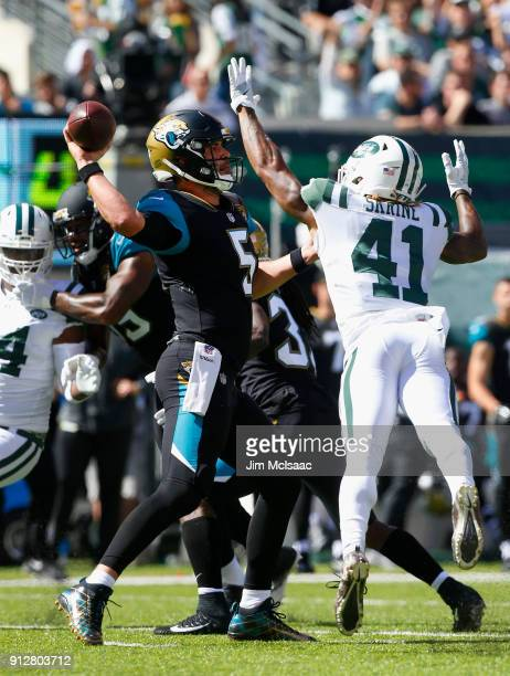 Blake Bortles of the Jacksonville Jaguars in action against Buster Skrine of the New York Jets on October 1 2017 at MetLife Stadium in East...