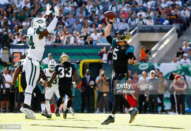 Blake Bortles of the Jacksonville Jaguars in action against Kony Ealy of the New York Jets on October 1 2017 at MetLife Stadium in East Rutherford...