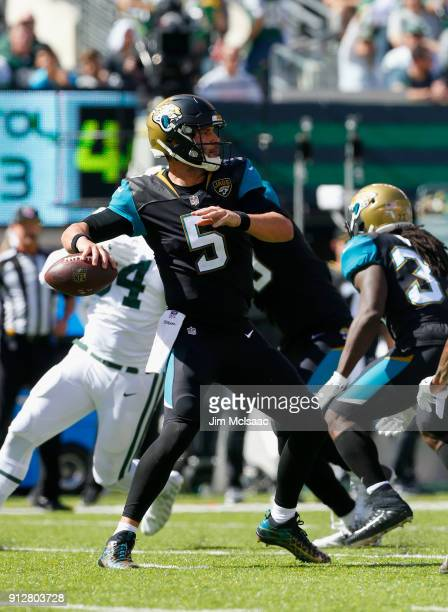 Blake Bortles of the Jacksonville Jaguars in action against the New York Jets on October 1 2017 at MetLife Stadium in East Rutherford New Jersey The...