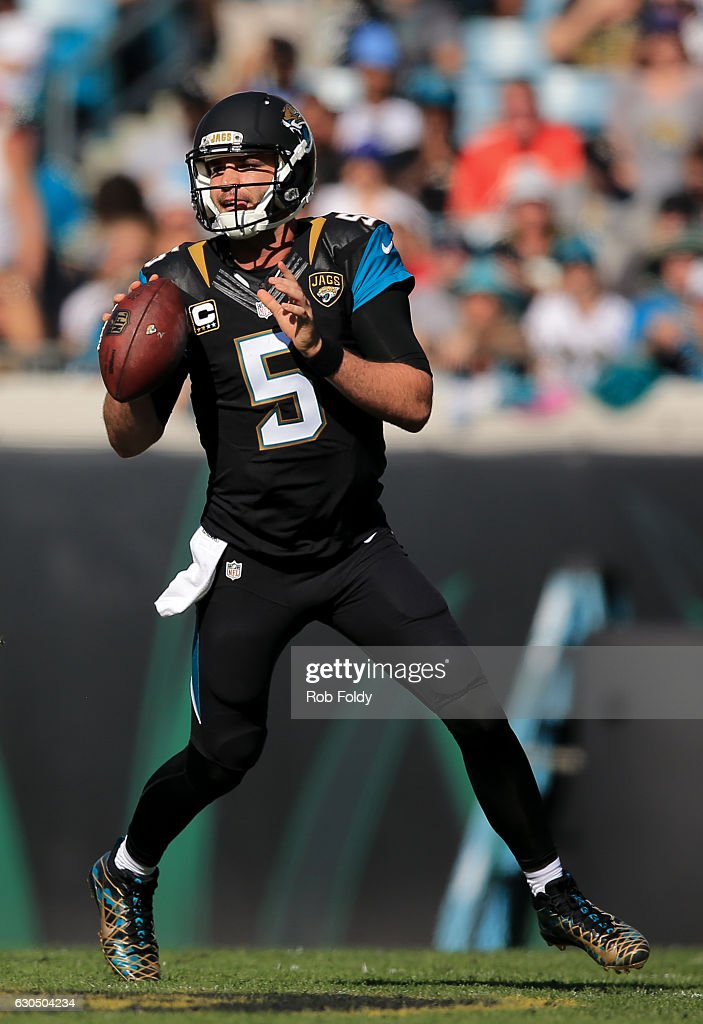Blake Bortles #5 of the Jacksonville Jaguars in action during the first half of the game against the Tennessee Titans at EverBank Field on December 24, 2016 in Jacksonville, Florida.