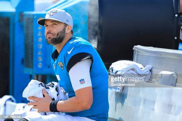 Blake Bortles of the Jacksonville Jaguars is seen on the bench during the first half against the Houston Texans at TIAA Bank Field on October 21 2018...