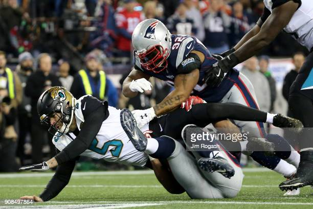 Blake Bortles of the Jacksonville Jaguars is tackled in the second half against James Harrison of the New England Patriots during the AFC...