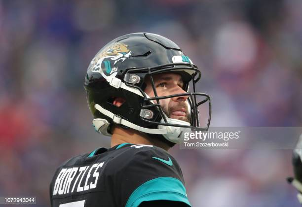 Blake Bortles of the Jacksonville Jaguars looks on during NFL game action against the Buffalo Bills at New Era Field on November 25 2018 in Buffalo...