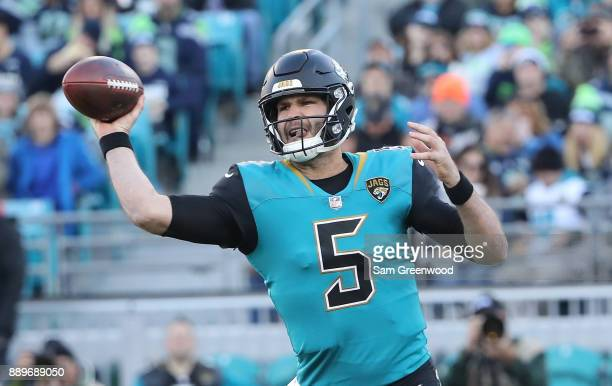 Blake Bortles of the Jacksonville Jaguars looks to pass the football during the first half of their game against the Seattle Seahawks at EverBank...