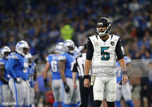Blake Bortles of the Jacksonville Jaguars looks to the sideline during the game against the Detroit Lions at Ford Field on November 20 2016 in...
