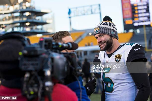 Blake Bortles of the Jacksonville Jaguars participates in a post game interview after the AFC Divisional Playoff game against the Pittsburgh Steelers...