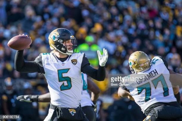 Blake Bortles of the Jacksonville Jaguars passes the ball during the first half against the Pittsburgh Steelers in the AFC Divisional Playoff game at...