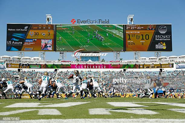 Blake Bortles of the Jacksonville Jaguars plays during the game against the Indianapolis Colts at EverBank Field on September 21 2014 in Jacksonville...