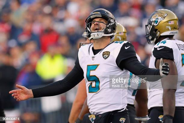 Blake Bortles of the Jacksonville Jaguars reacts after a penalty call in the second quarter during the AFC Championship Game against the New England...