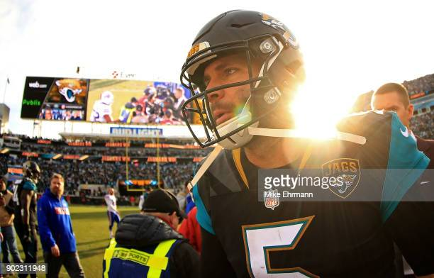 Blake Bortles of the Jacksonville Jaguars reacts after winning an AFC Wild Card playoff game against the Buffalo Bills at EverBank Field on January 7...