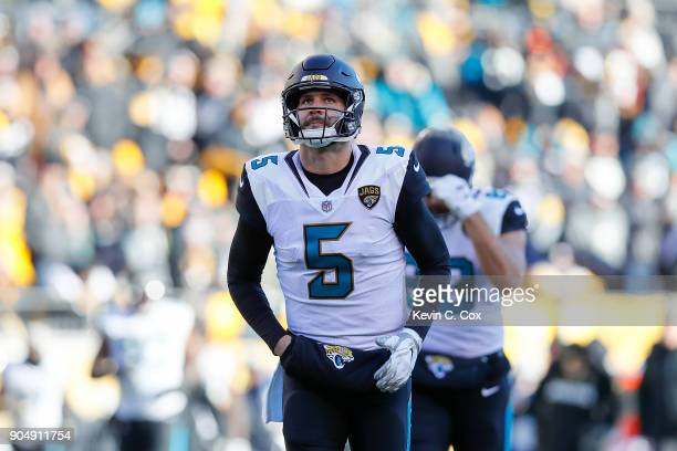 Blake Bortles of the Jacksonville Jaguars reacts against the Pittsburgh Steelers during the first half of the AFC Divisional Playoff game at Heinz...
