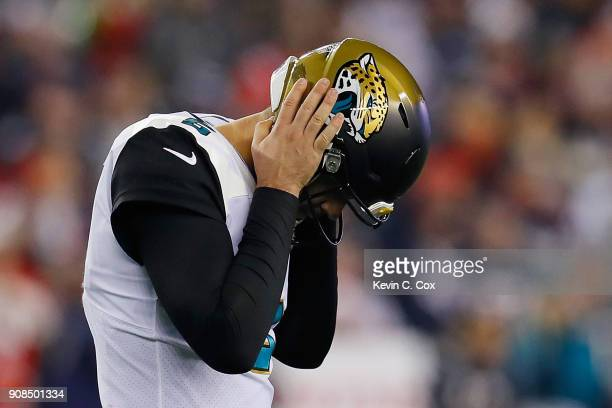 Blake Bortles of the Jacksonville Jaguars reacts in the fourth quarter during the AFC Championship Game against the New England Patriots at Gillette...