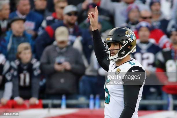 Blake Bortles of the Jacksonville Jaguars reacts in the second quarter of the AFC Championship Game against the New England Patriots at Gillette...
