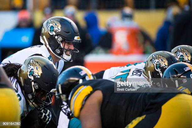 Blake Bortles of the Jacksonville Jaguars readies under center during the second half against the Pittsburgh Steelers in the AFC Divisional Playoff...