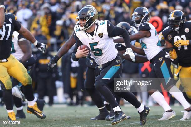 Blake Bortles of the Jacksonville Jaguars runs with the ball against the Pittsburgh Steelers during the second half of the AFC Divisional Playoff...