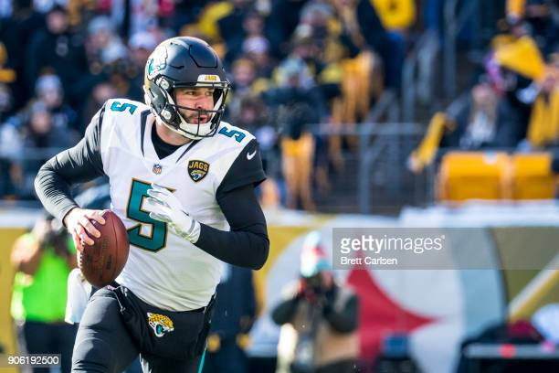 Blake Bortles of the Jacksonville Jaguars runs with the ball during the first half of the AFC Divisional Playoff game against the Pittsburgh Steelers...